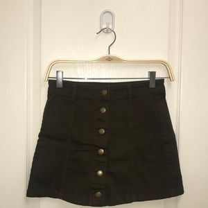 Green Button Down Denim Skirt